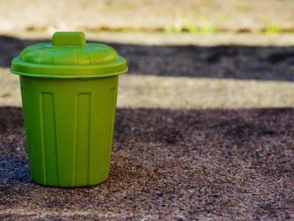 Grüne Mülltonne ohne Mülltonnenbox